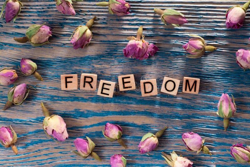 Freiheit auf hölzernem Würfel stockbilder