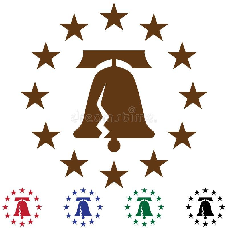 Freiheit Bell mit Sternen lizenzfreie abbildung