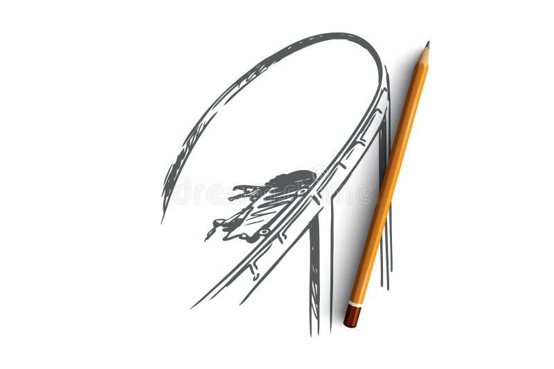 Freiheit, Extrem, Risiko, Vergnügen, Geschwindigkeitskonzept Hand gezeichneter lokalisierter Vektor stock abbildung