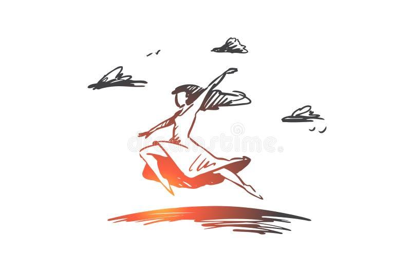 Freiheit, Glück, Frau, Fliege, Liebeskonzept Hand gezeichneter lokalisierter Vektor stock abbildung
