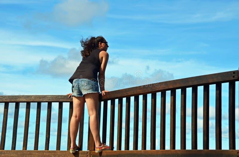 Freiheit - junge Frau u. durchbrennenhaar des Winds lizenzfreies stockbild