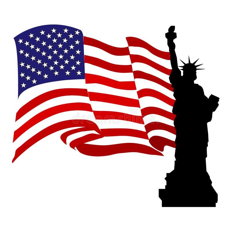 Freiheit-Statue mit USA-Markierungsfahne vektor abbildung