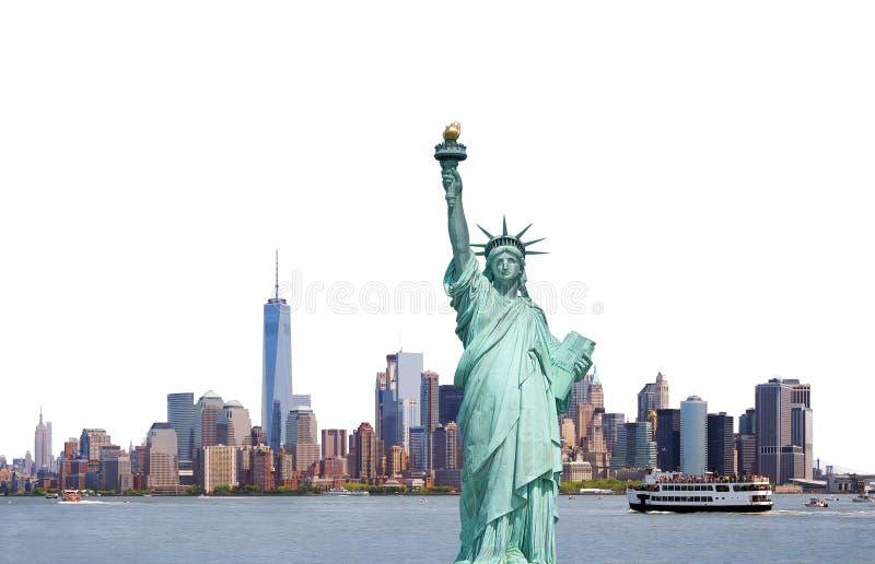 Freiheitsstatue, Skyline von New York City lokalisierte auf weißem Ba lizenzfreie stockfotos