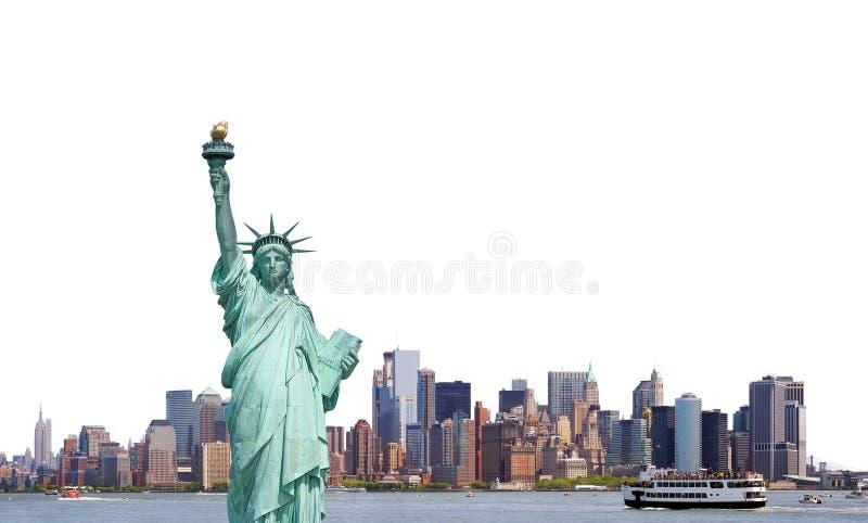 Freiheitsstatue, Skyline von New York City lokalisierte auf weißem Ba stockbild