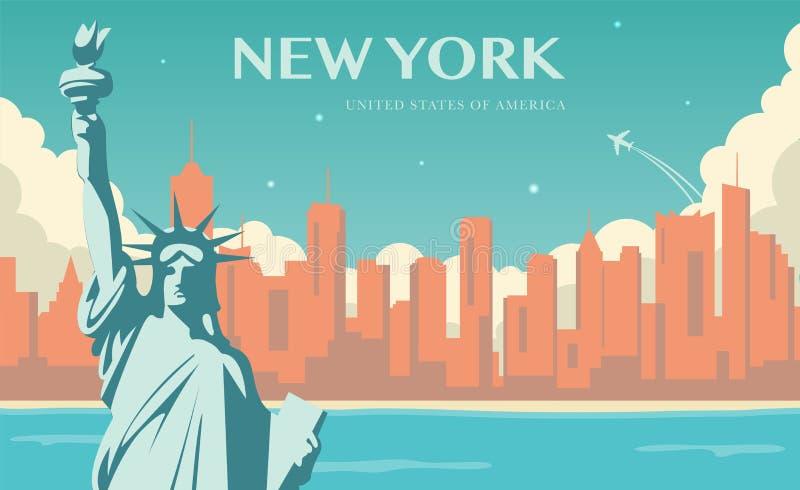 Freiheitsstatue u New- Yorkmarkstein und Symbol der Freiheit und der Demokratie Vektor lizenzfreie abbildung
