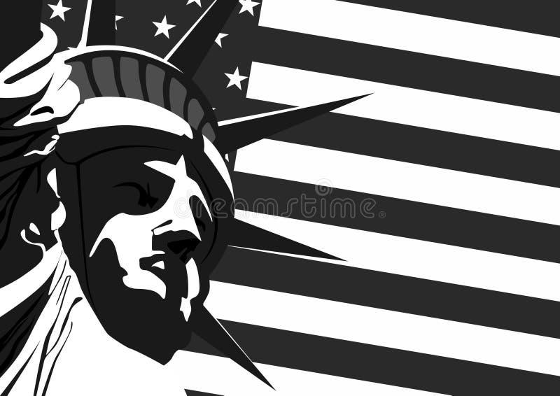 Freiheitsstatue und US-Markierungsfahne lizenzfreie abbildung