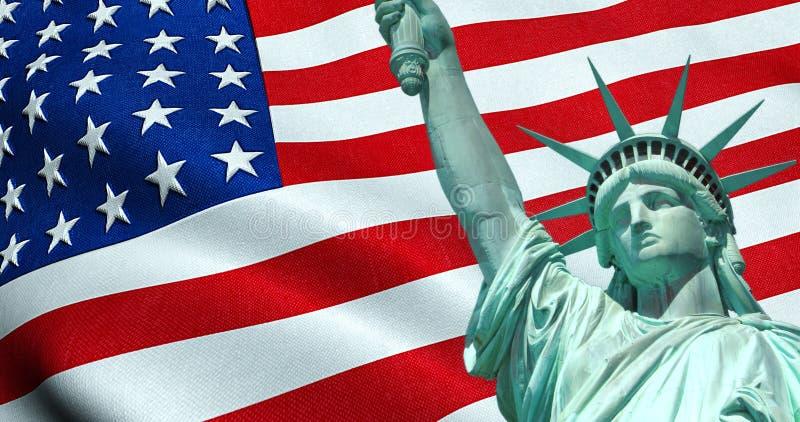 Freiheitsstatue von amerikanischen USA mit wellenartig bewegender Flagge im Hintergrund, in Staaten von Amerika, im Sternenbanner stockfotografie