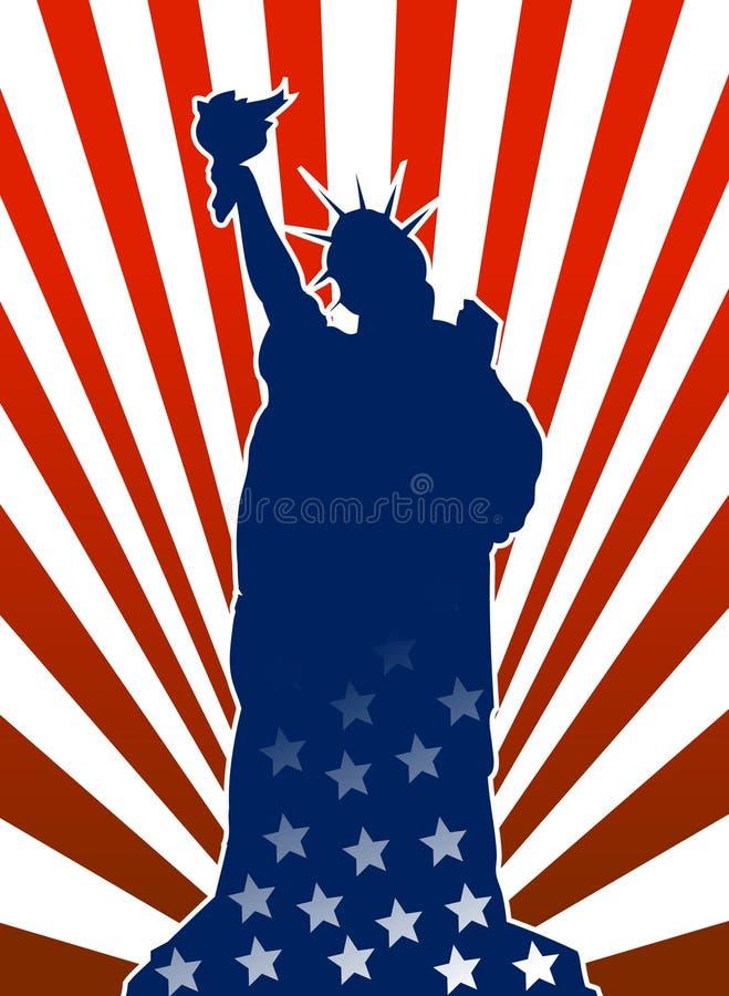 Freiheitstatue in der amerikanischen Flagge stock abbildung
