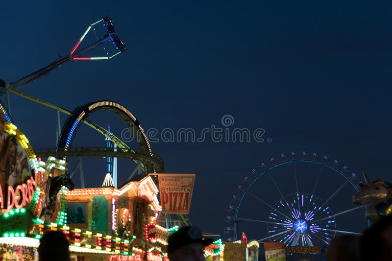 Freimarkt, Bremen, Germany, April 14th, 2017: Illumiated fun fair scenery stock photo