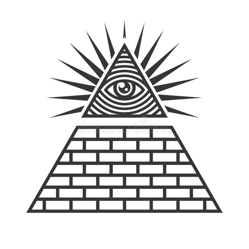 Freimaurer-Illuminati-Symbole, Auge im Dreieck-Zeichen Vektor vektor abbildung