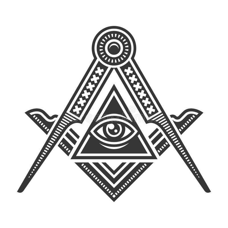 Freimaurerfreimaurerei-Emblem-Ikonen-Logo Vektor stock abbildung