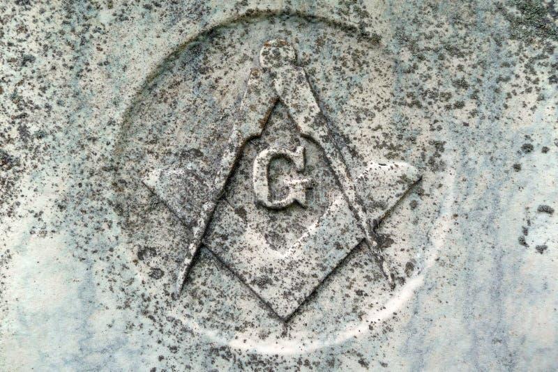 Freimaurersymboldetail über Grab des 19. Jahrhunderts lizenzfreie stockbilder