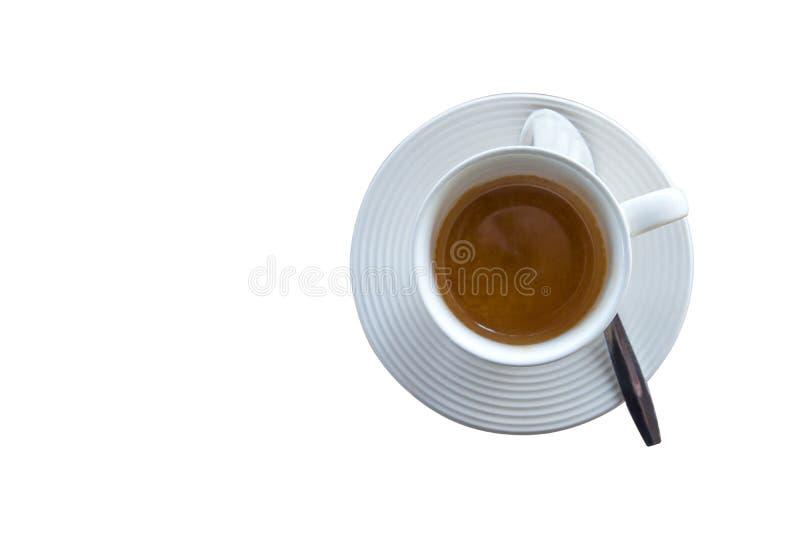 Frein à café, tasse blanche de café chaud espresso sur fond blanc illustration stock