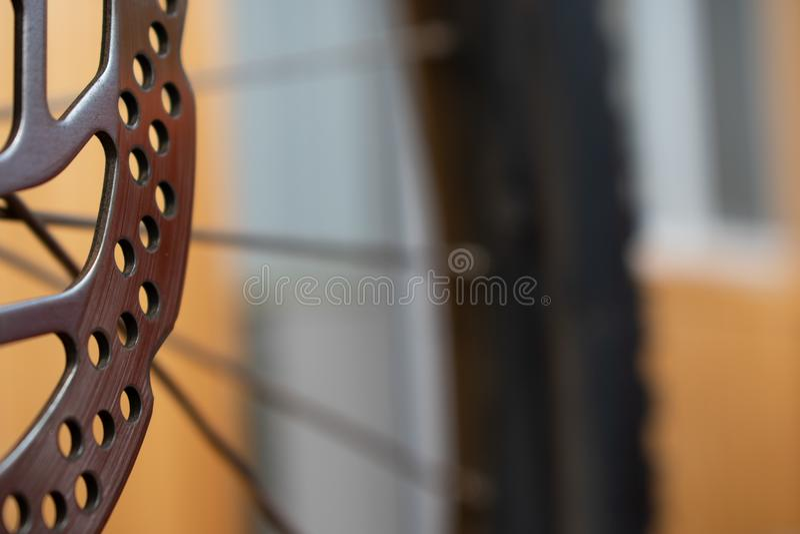 Freins à disque de bicyclette un vélo image stock