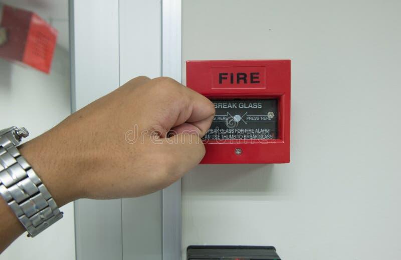 Freio de mão o alarme de incêndio para na parede imagens de stock royalty free
