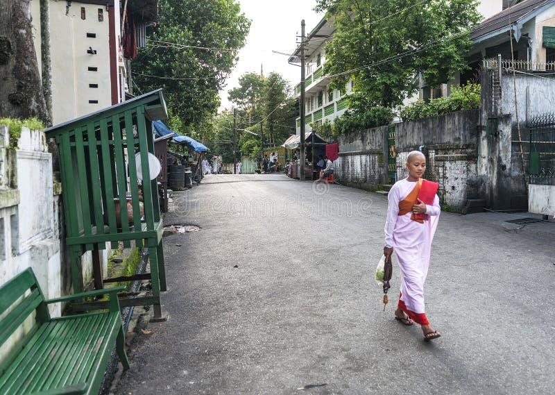 Freira budista na rua em yangon myanmar imagem de stock