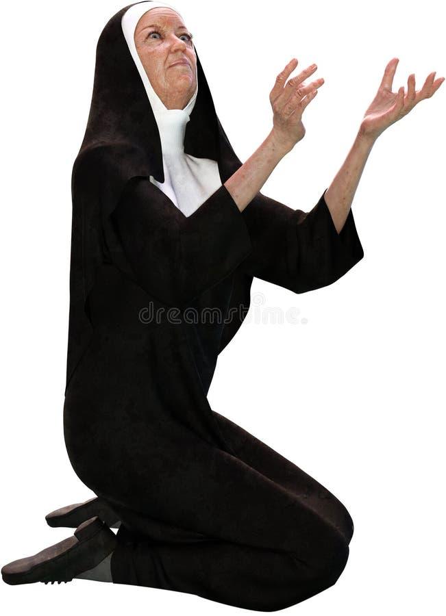 Freira Kneeling, pagando, oração, isolada, religião imagens de stock royalty free