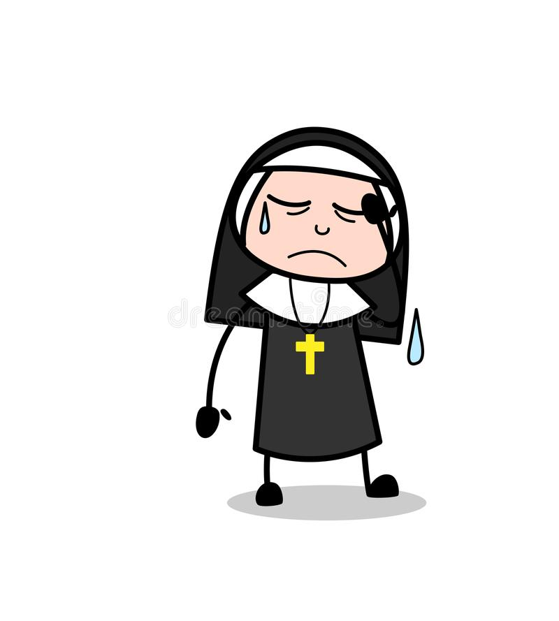 Freira triste Character Face Expression dos desenhos animados ilustração do vetor