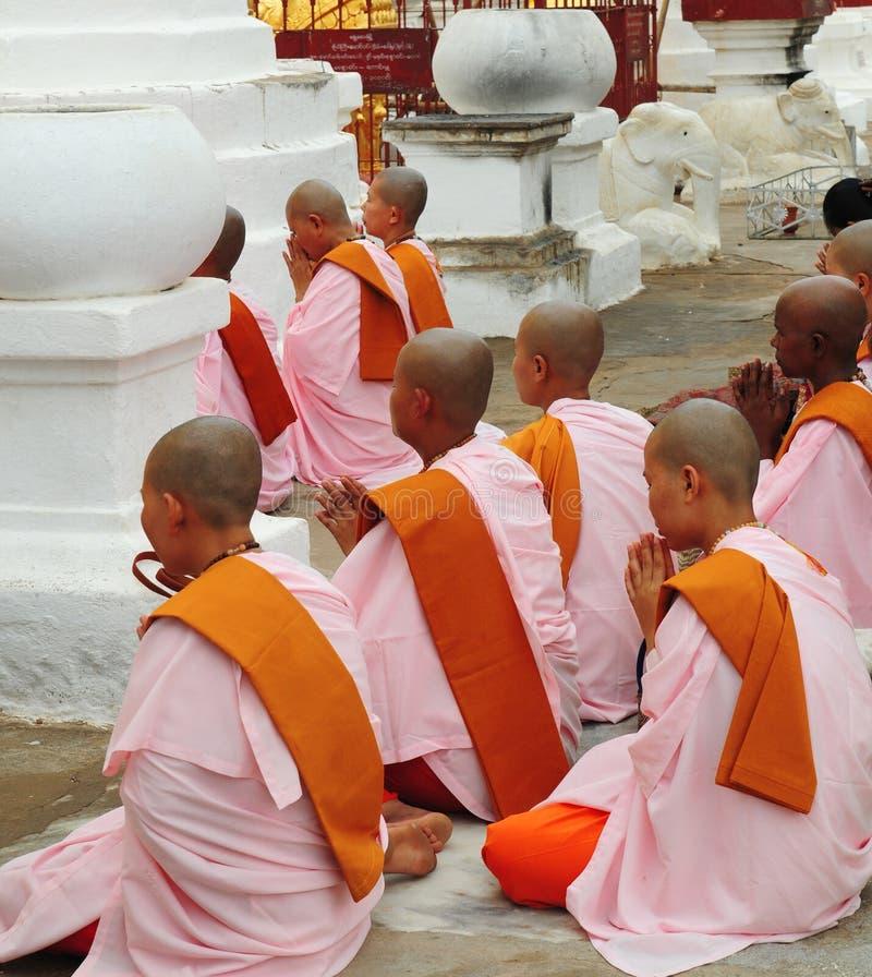 Freiras budistas Myanmar fotografia de stock
