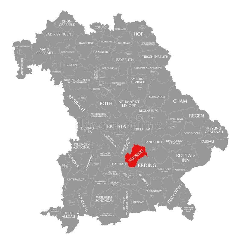 Freising okręgu administracyjnego czerwień podkreślająca w mapie Bavaria Niemcy ilustracja wektor