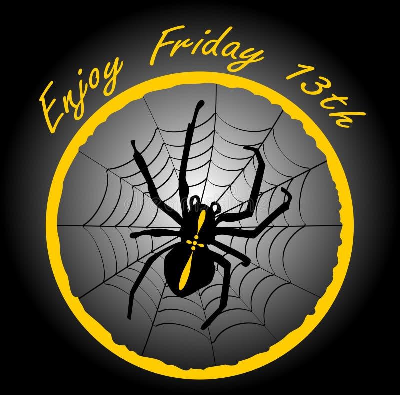 Freitag, den 13., eleganter Ausweis mit Spinnenkreuzfahrer, Spinnennetz im gelben Kreis auf schwarzem Steigungshintergrund vektor abbildung
