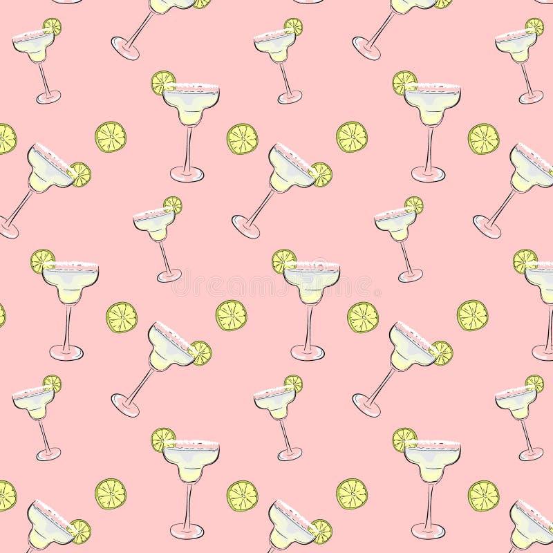 Freitag-Stimmungscocktailhintergrund Margarita trinkt Muster Weekend, Feiertag dcoration, Verpackung, Stoffdruck stock abbildung