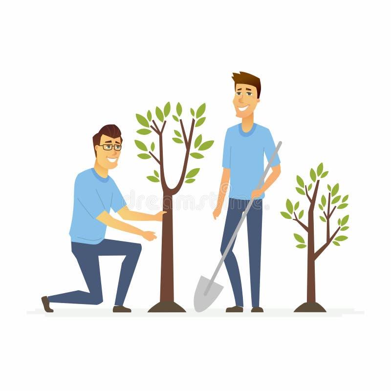 Freiwillige Betriebsbäume - Karikaturleutecharaktere lokalisierten Illustration lizenzfreie abbildung