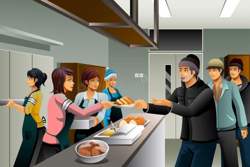 Freiwillige, die dem Obdachloser Lebensmittel dienen lizenzfreie abbildung