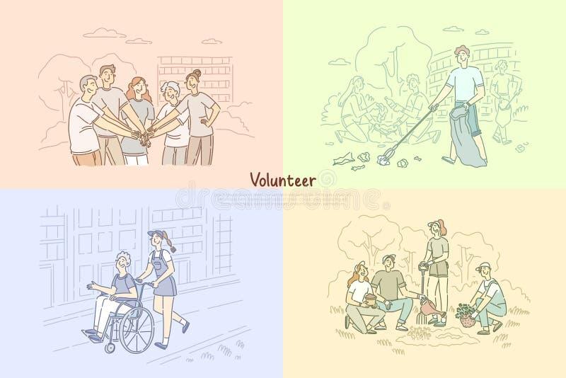 Freiwillige Gruppe, Sozialarbeiter, die Bäume, Reinigungsparkbereich, Pflegekräfte helfen älterer Leutefahnenschablone pflanzen vektor abbildung