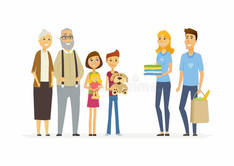 Freiwillige helfen Kindern und Senioren - lokalisierter Illustration der Karikaturleute Charaktere stock abbildung
