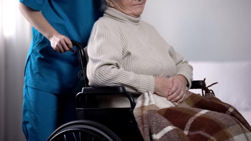 Freiwillige nehmende Sorgfalt ?ber ?ltere Frau im Rollstuhl bedeckt durch Decke lizenzfreie stockfotos
