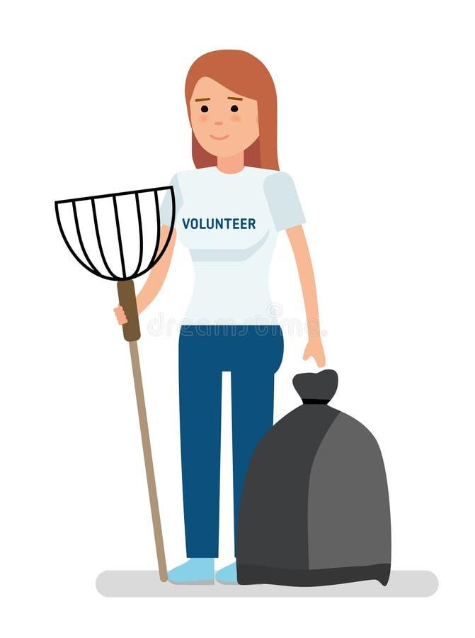 Freiwilliges Mädchen der Junge sammelt Abfall vektor abbildung