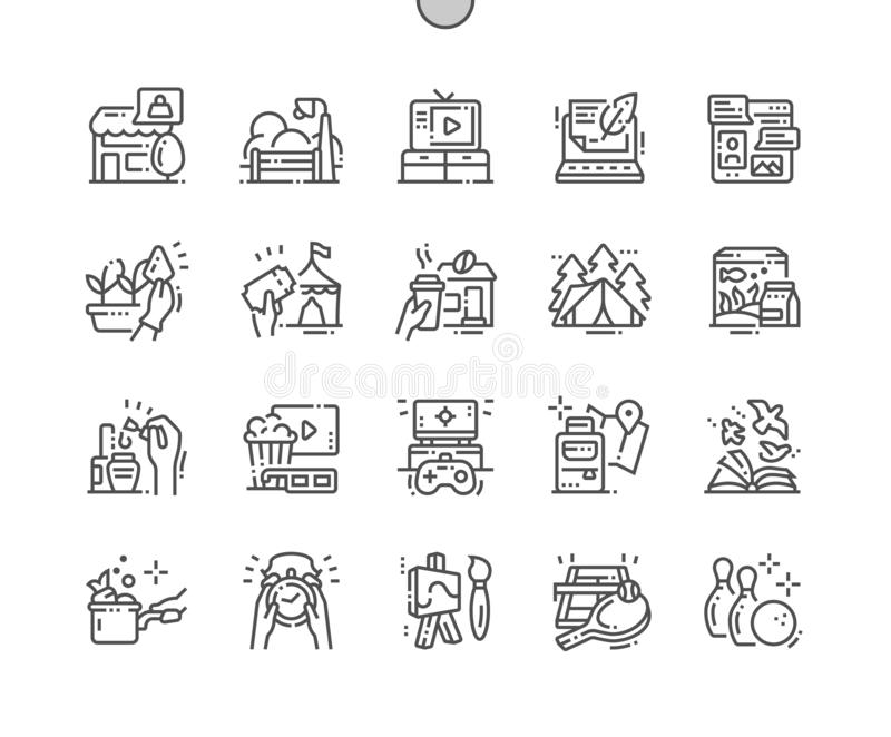 Freizeit Gut-in Handarbeit gemachte Pixel-perfekter Vektor-dünne Linie Gitter 2x der Ikonen-30 für Netz Grafiken und Apps lizenzfreie abbildung