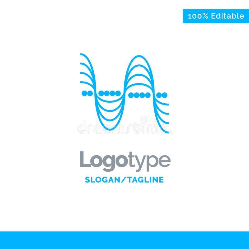 Frekvens Hertz, grad, tryck, solida blåa fasta Logo Template St?lle f?r Tagline royaltyfri illustrationer