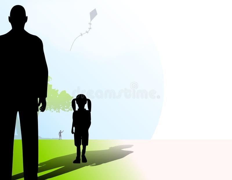Fremder mit kleinem Mädchen im Park lizenzfreie abbildung