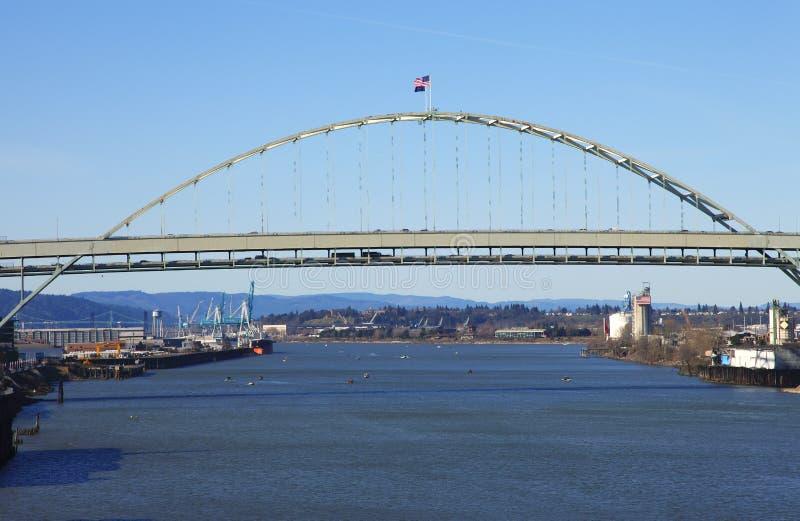 The Fremont bridge Portland OR. royalty free stock image