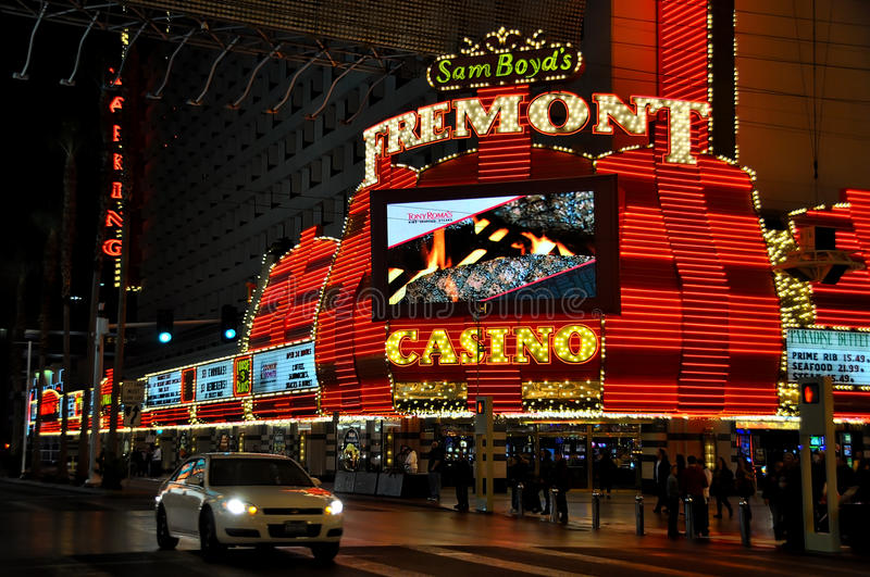 Fremont in a dark night. VEGAS, NEVADA, USA - January 11th, 2016: Fremont Casino. Sam Boyd`s sign and Tony Roma`S ad stock photo