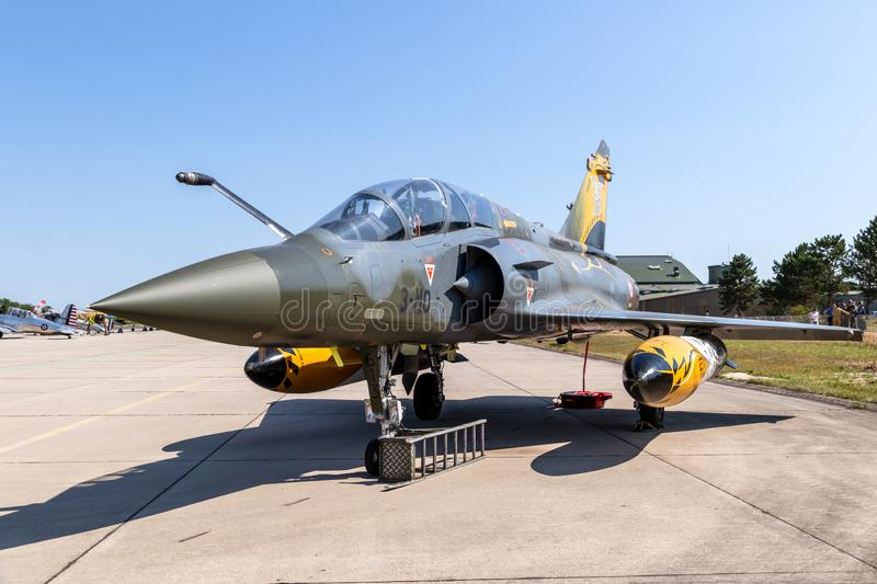 French Air Force Dassault Mirage 2000 fighter jet. NANCY, FRANCE - JUL 1, 2018: French Air Force Dassault Mirage 2000 fighter jet on the tarmac of Nancy Airbase royalty free stock images