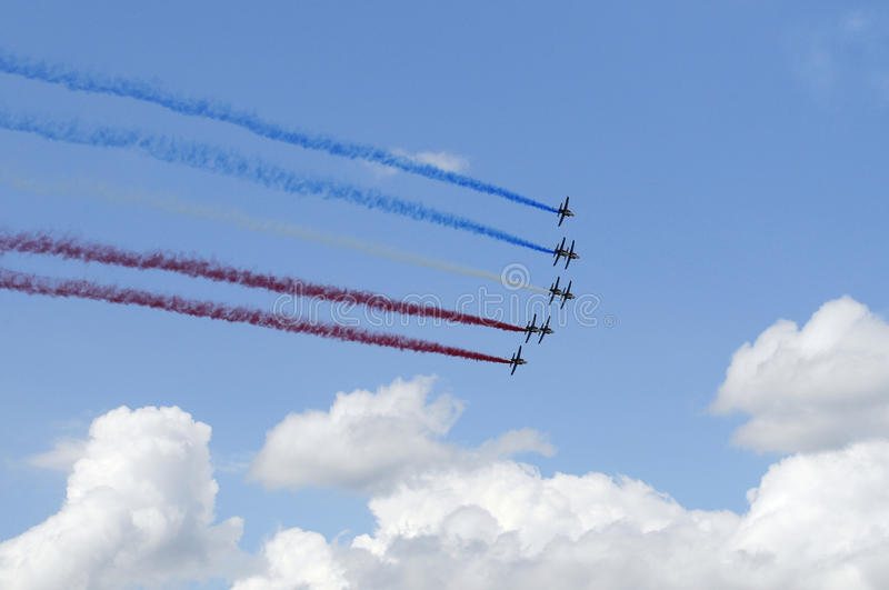 French air force in Paris air show royalty free stock photography