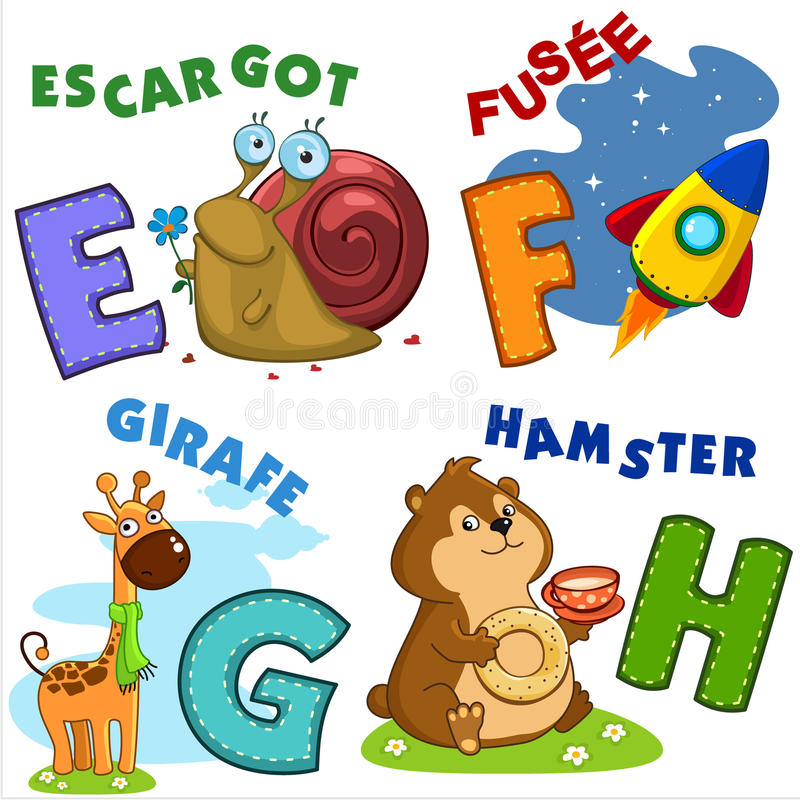 French alphabet part 2 stock illustration