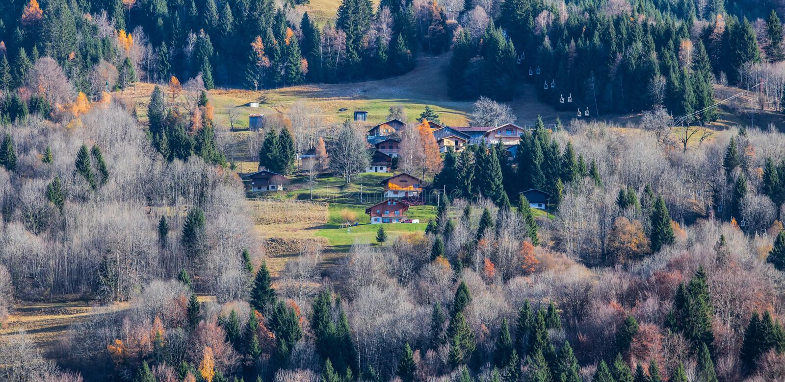 French Alpine Village. At Sixt fer a cheval, France in late autumn royalty free stock images