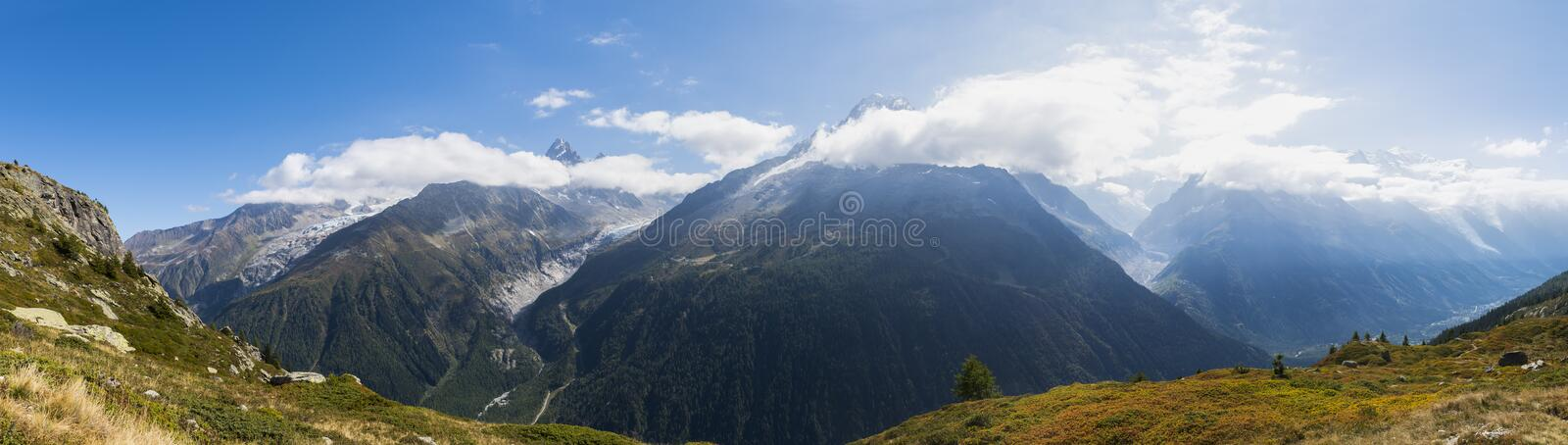 French Alps with Mont Blanc. Chamonix, France - September 25, 2018: French Alps with high mountains in the valley of Chamonix with the Mont Blanc in autumn time royalty free stock photo