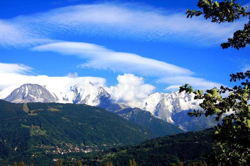 French Alps. The Alps are one of the great mountain range systems of Europe stretching approximately 1,200 kilometres (750 mi) across eight Alpine countries stock image