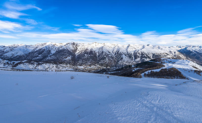 French Alps Panorama in Auron, France royalty free stock photos
