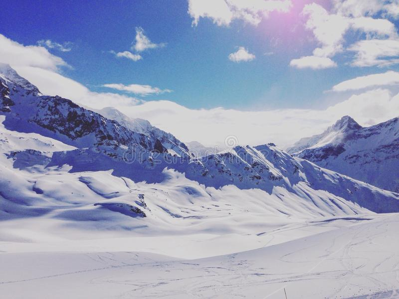 French Alps snow les arcs stock images