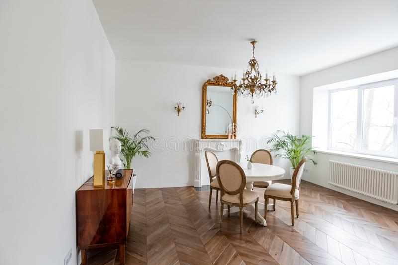 French apartments. living room with dining table. stock photos