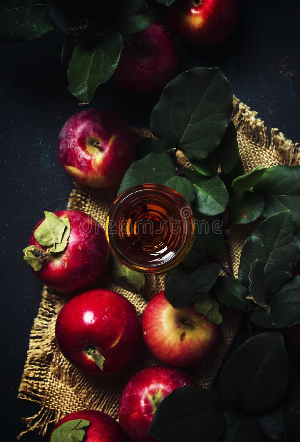 French apple brandy or calvados, dark drink autumn background, t stock photography