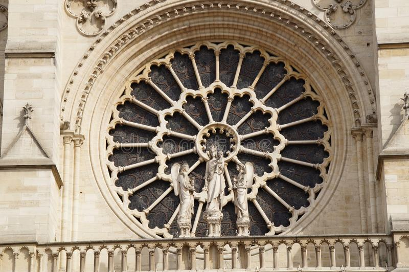 French architecture - Grip Taking of view sight outside, without character and of day. The cathedral Notre-Dame de Paris, in shape short Notre-Dame, is the stock photography