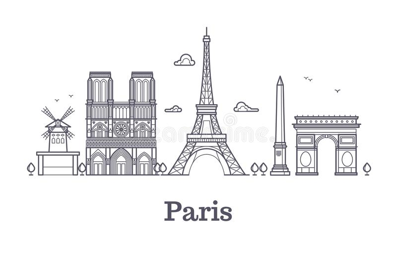 French architecture, paris panorama city skyline vector outline illustration stock illustration