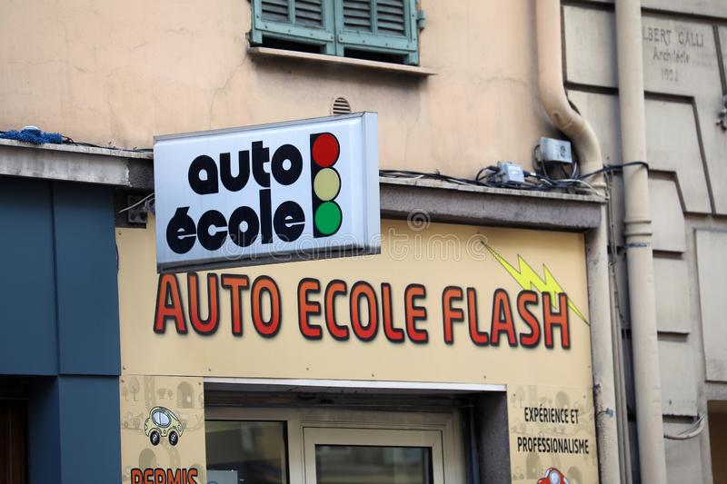 French Auto Ecole Driving School Sign stock image